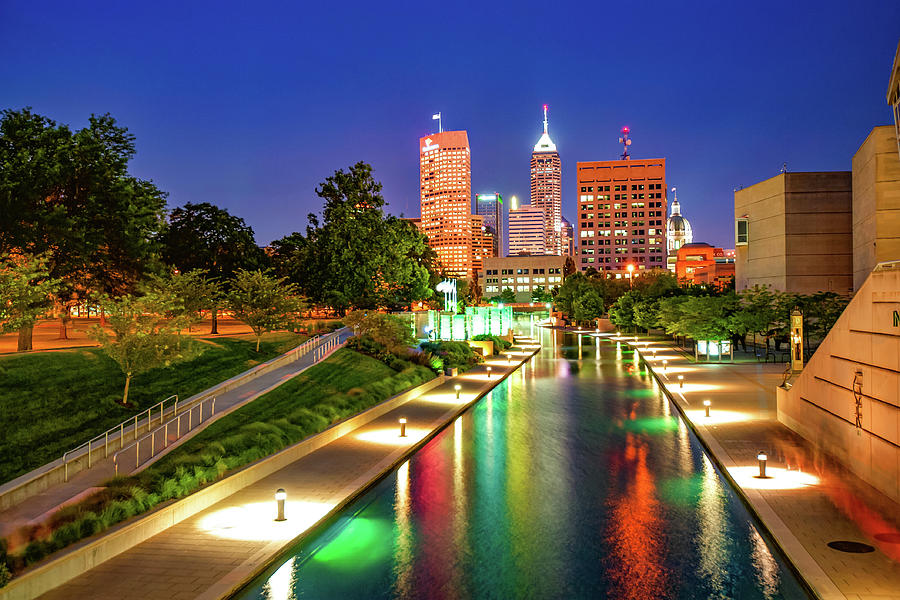 Colorful Skyline From The Indianapolis Canal Walk Photograph