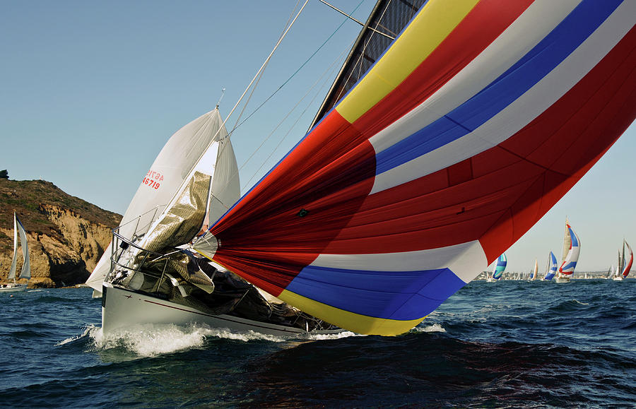 Colorful spinnaker run by David Shuler