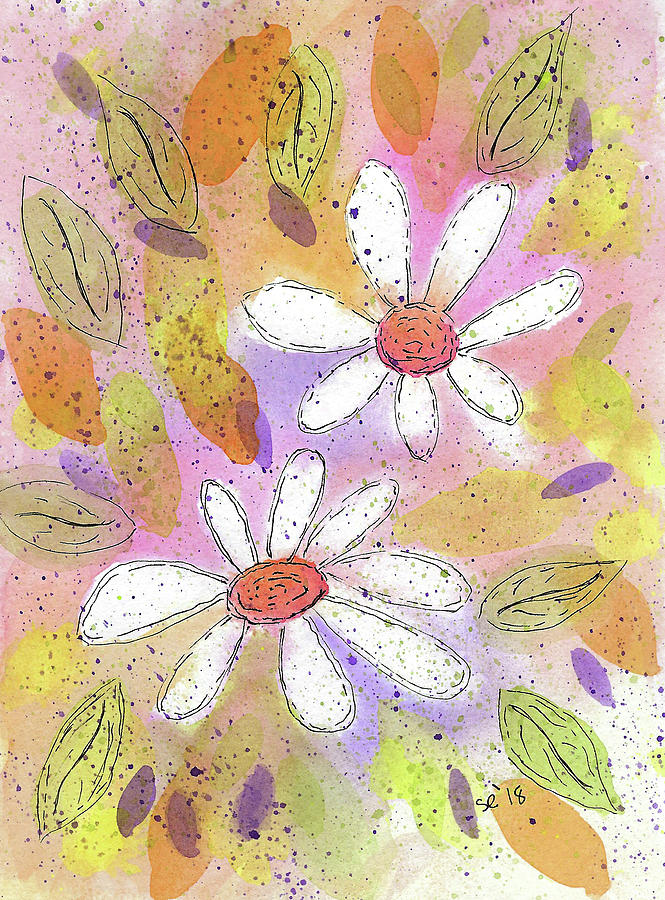 Watercolor And Ink Painting - Colorful Spring by Susan Campbell