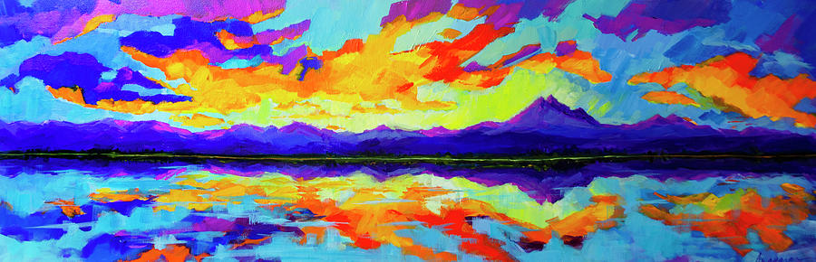 Colorful Sunset at Mcintosh Lake, Colorado Mountain Range by Patricia Awapara