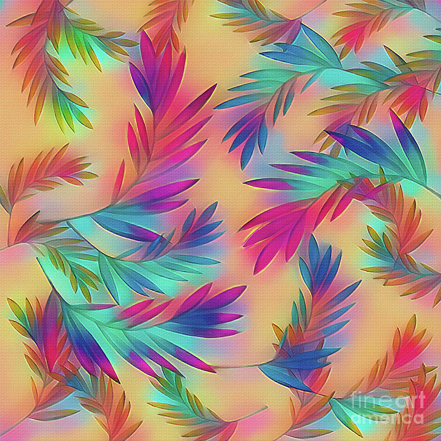 Colorful Tropical Leaves Palms 2 by Kaye Menner by Kaye Menner