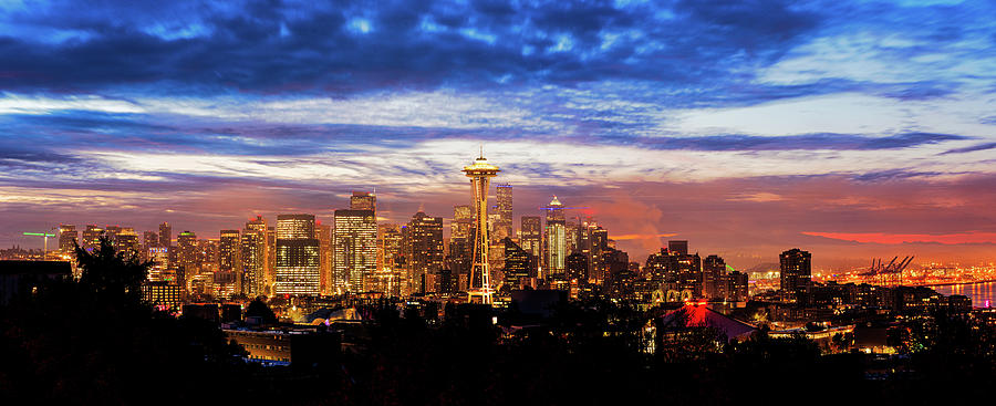 Colorful twilight over downtown Seattle by Michael Lee