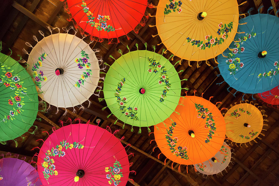 Colorful Umbrella Ceiling by Lindley Johnson
