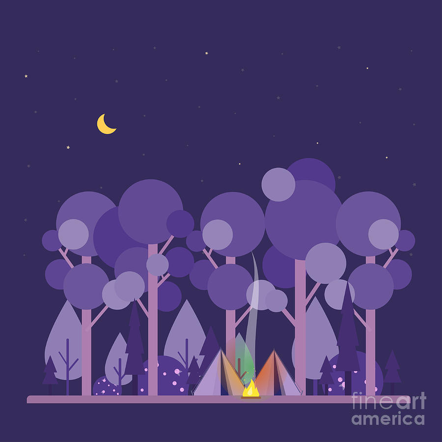 Symbol Digital Art - Colorful Vector Concept With Camping by Twins nika