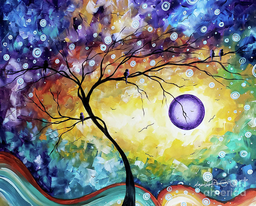 Abstract Painting - Colorful Whimsical Original Landscape Tree Painting Purple Reign By Megan Duncanson by Megan Duncanson