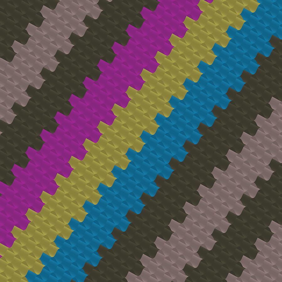 Colorful Zigzag Pattern Digital Art