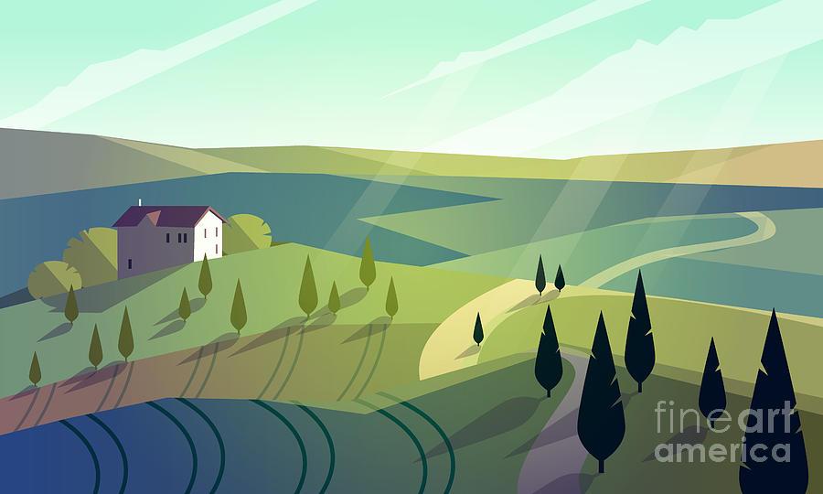 Country Digital Art - Colorfull Cartoon Flat Landscape Vector by Poppy field