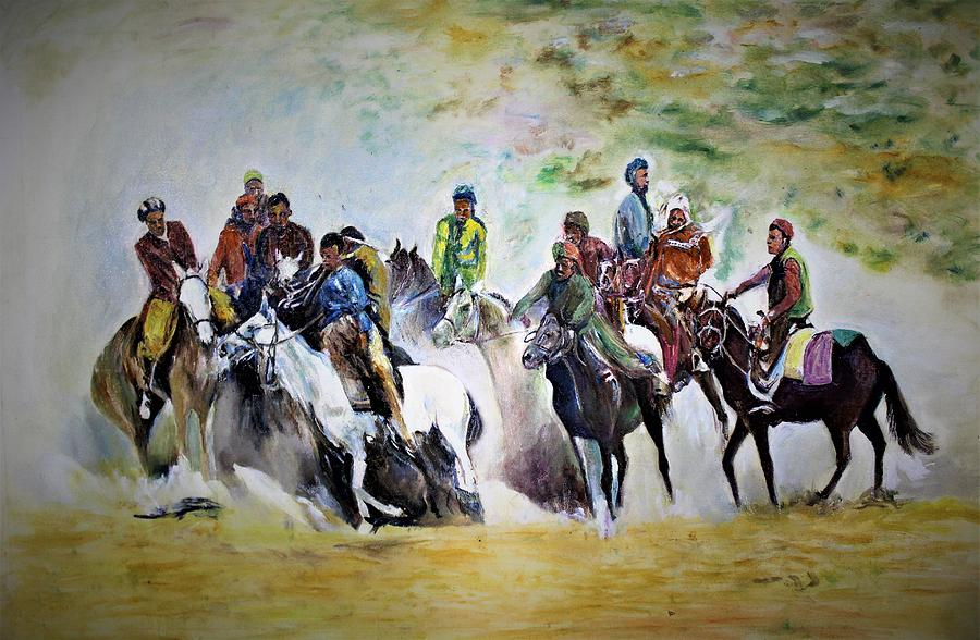 Horse Painting - Colors In Buzkash Sport by Khalid Saeed
