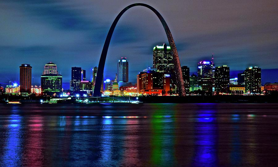 St Photograph - Colors Of St Louis At Night by Frozen in Time Fine Art Photography