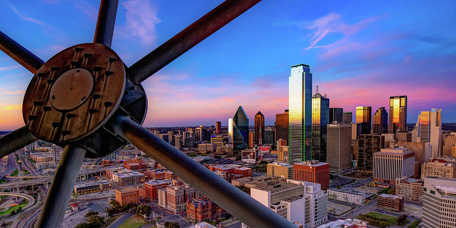 Colors Of Sunset From Reunion Tower - Dallas Texas Skyline Panoramic Photograph