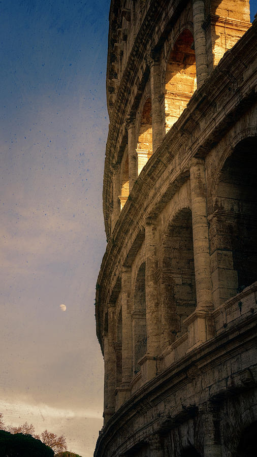 Colosseum and Moon Rome Italy by Joan Carroll