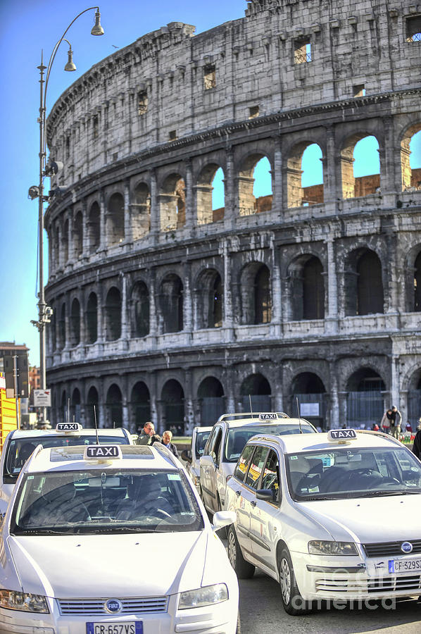 Colosseum Photograph - Colosseum And Taxis In Rome by Stefano Senise