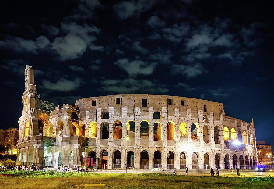 Colosseum In Rome At Night Photograph