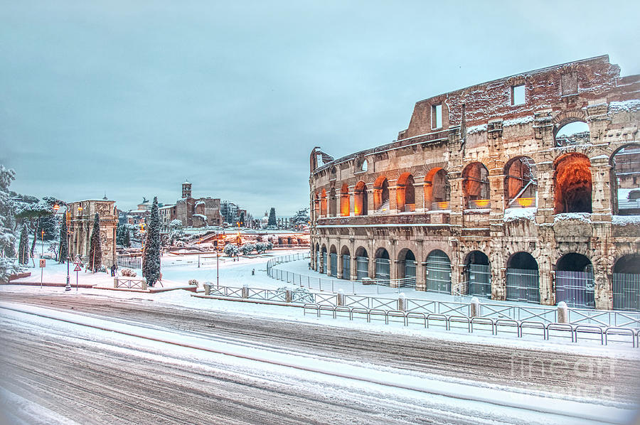 Colosseo Photograph - Colosseum - Snow Over Roman Forum And Palatine Hill by Stefano Senise