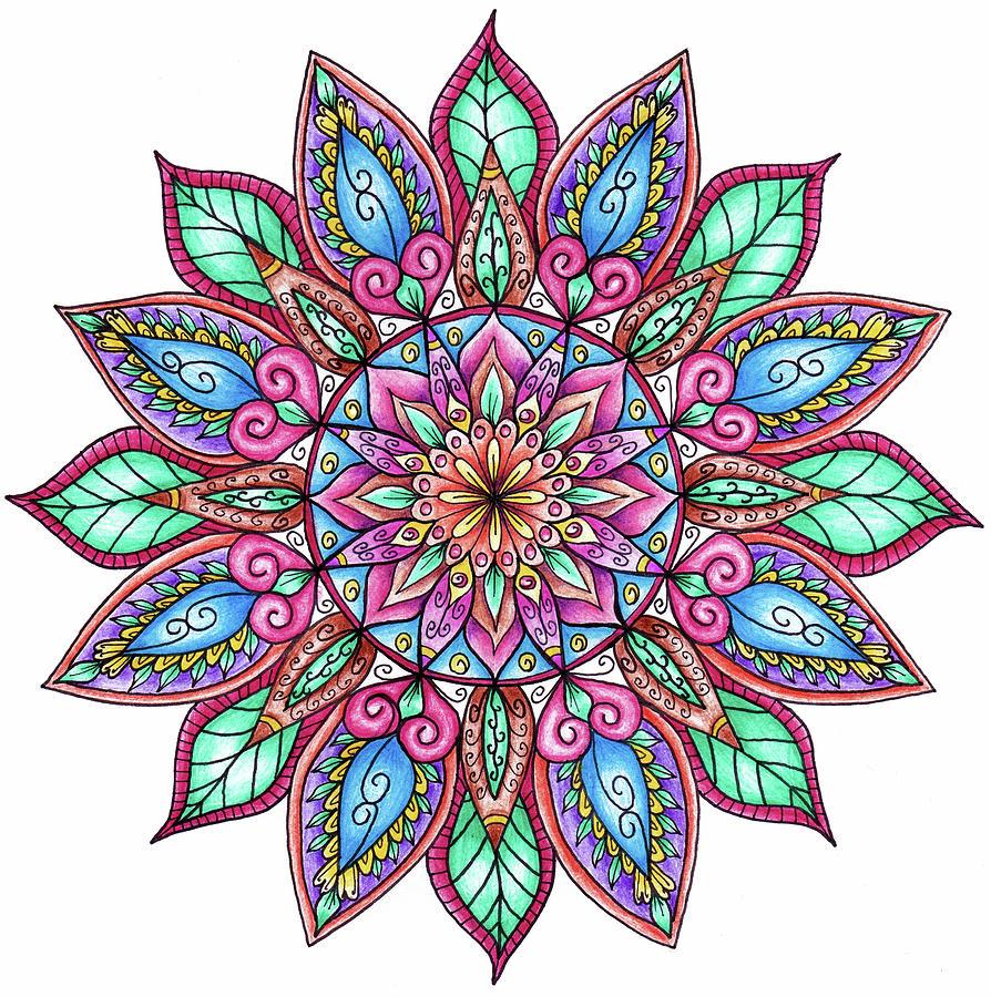Abstract Mixed Media - Coloured Mandala 9 by Delyth Angharad
