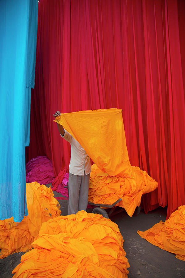 Colourful Clothe Drying From Dying Photograph by Grant Faint