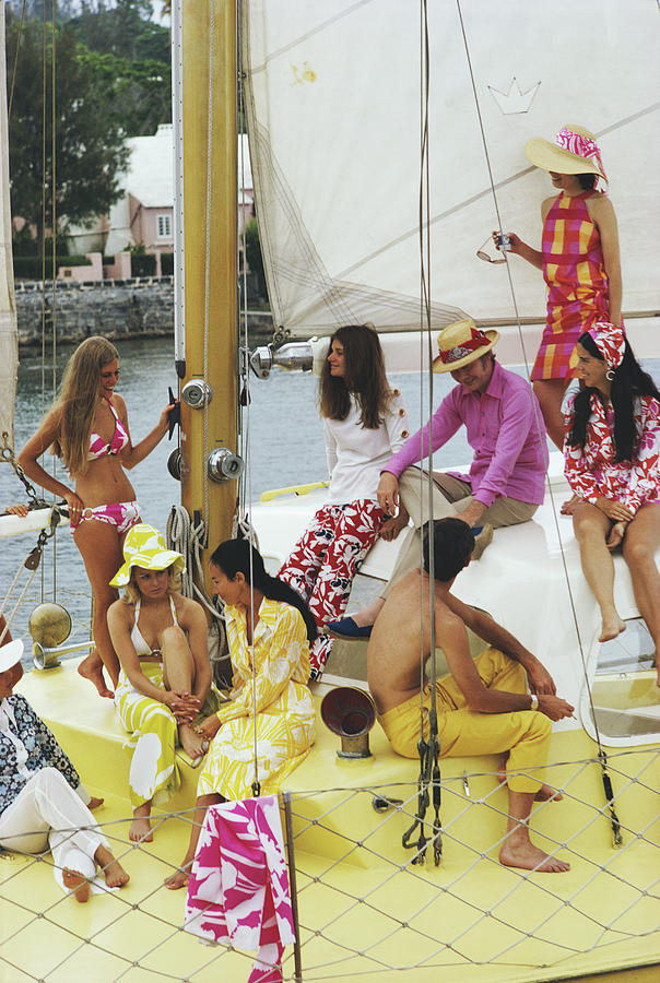 People Photograph - Colourful Crew by Slim Aarons