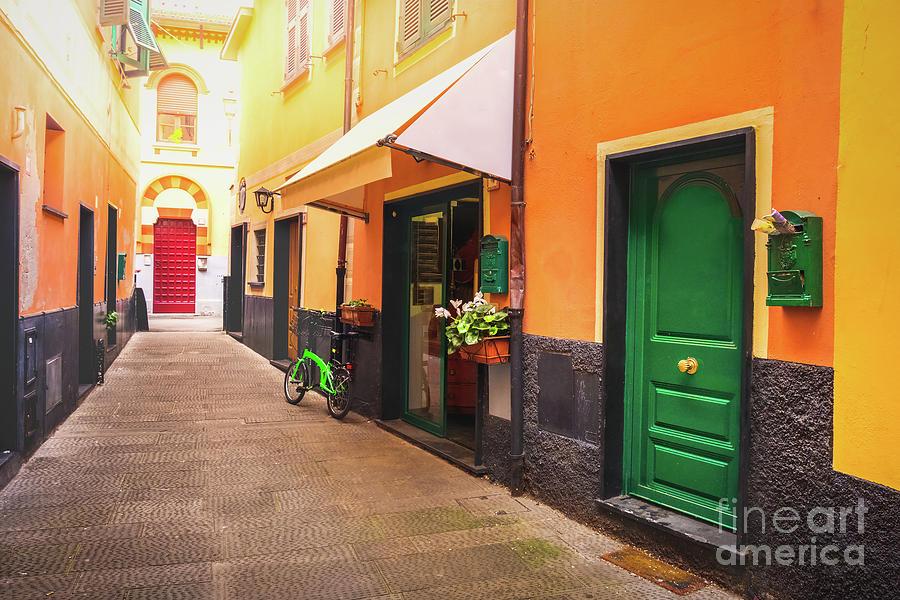 colourful italian alley green door by Luca Lorenzelli