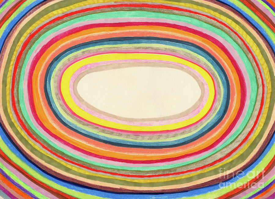 Colourful Rainbow Circles Background Digital Art by Beastfromeast