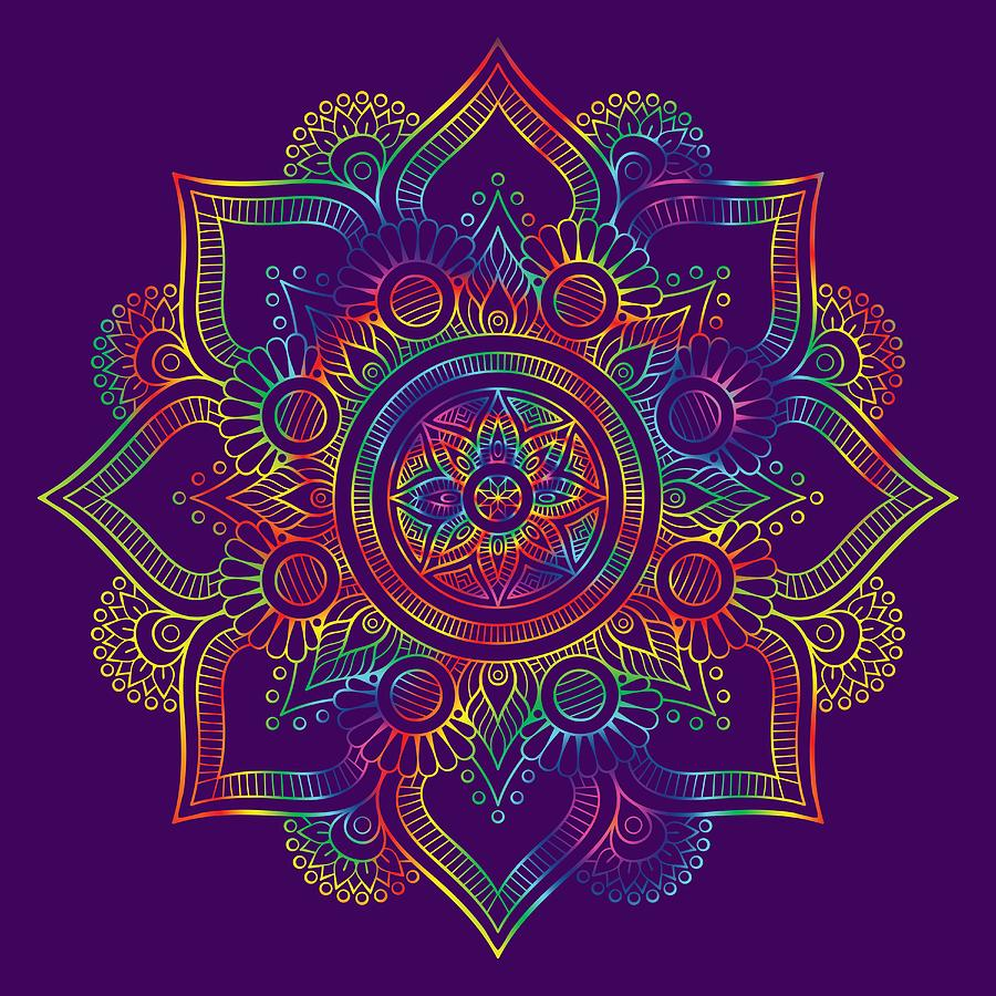 Colourful Rainbow Mandala Lavender by Georgeta Blanaru