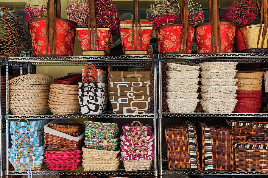 Colourful Woven Baskets Market Display Photograph by Fotovoyager