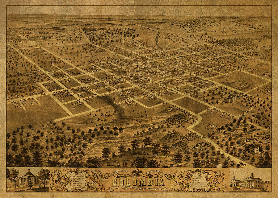 Columbia Missouri Vintage City Street Map 1869