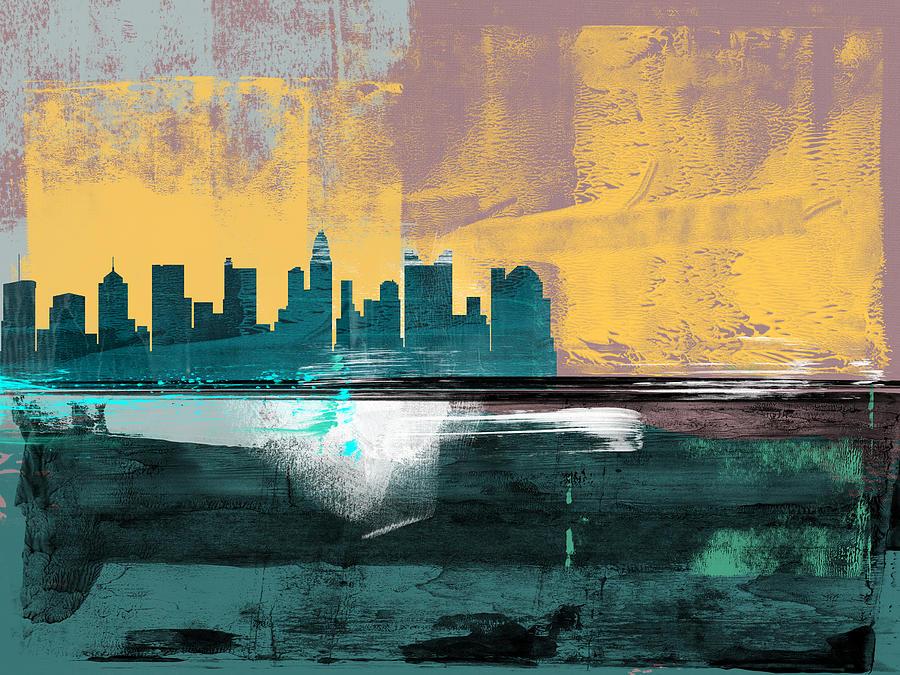 Columbus Mixed Media - Columbus Abstract Skyline I by Naxart Studio