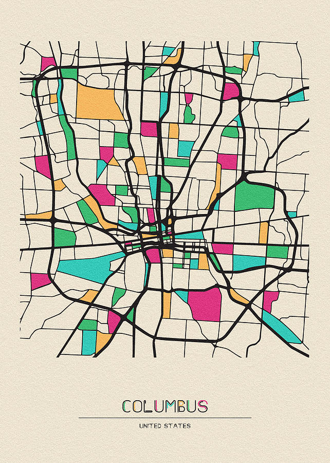 Columbus Ohio City Map Drawing By Inspirowl Design