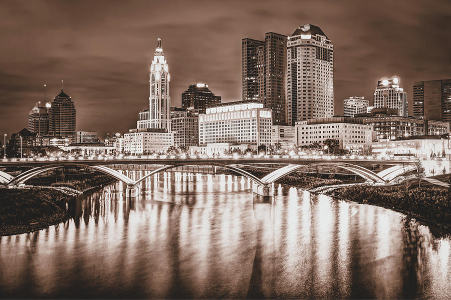 Columbus Ohio Skyline Over The Scioto River - Sepia Edition by Gregory Ballos