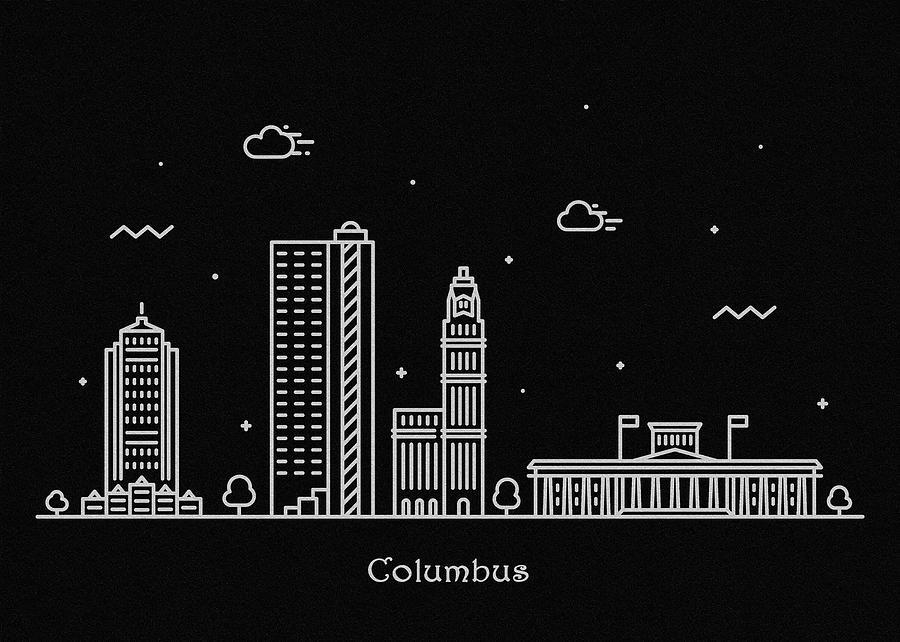 Columbus Drawing - Columbus Skyline Travel Poster by Inspirowl Design