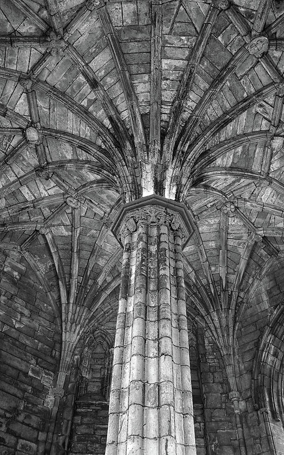 Column and Ceiling at Elgin Cathedral by Dave Mills