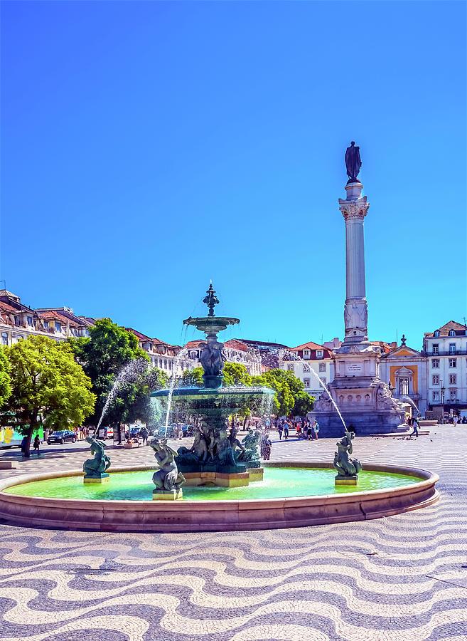 Architecture Photograph - Column Pedro Iv Fountain Rossio Square by William Perry