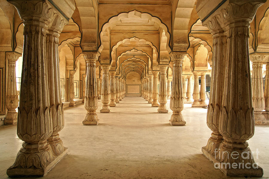 Mosque Photograph - Columned Hall Of Amber Fort. Jaipur by Igor Plotnikov