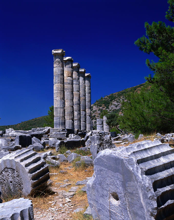 Columns At The Ancient Ionian Ruins Of Photograph by Izzet Keribar