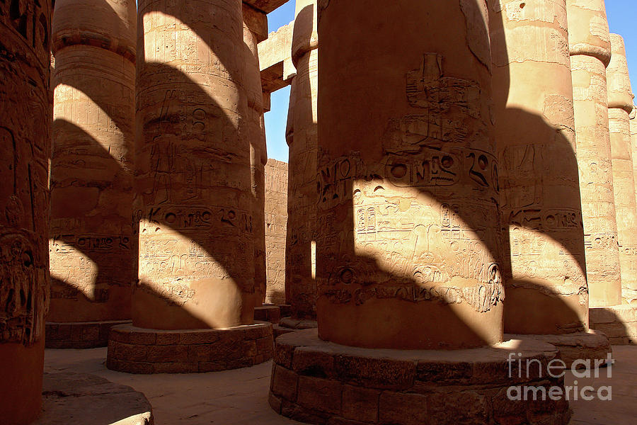 Columns in hypostyle hall at Karnak Temple - Luxor, Egypt by Ulysse Pixel