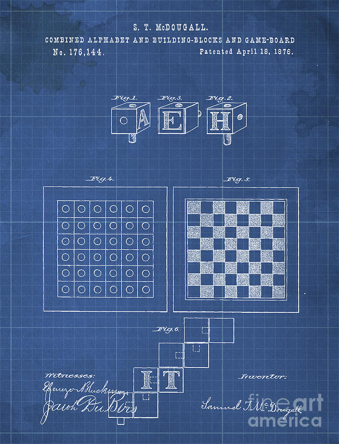 Combined Alphabet And Building Blocks And Game Board Patent Year 1876 Drawing