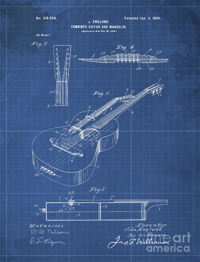 Combined Guitar And Mandolin Patent Year 1899 Drawing