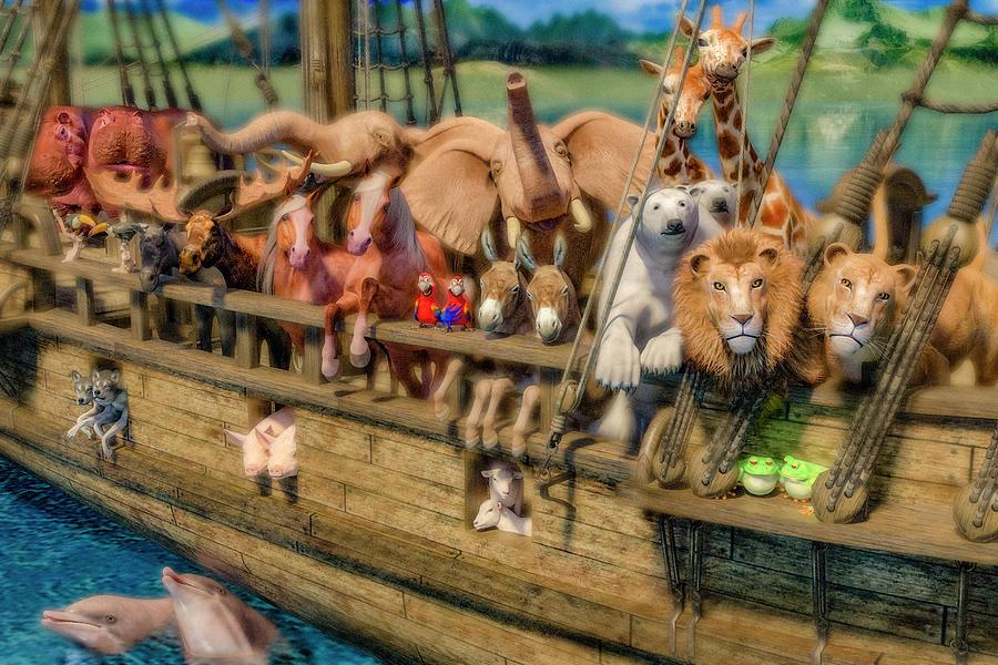 Noah Digital Art - Come Aboard Theres Plenty Of Room Ark by Betsy Knapp