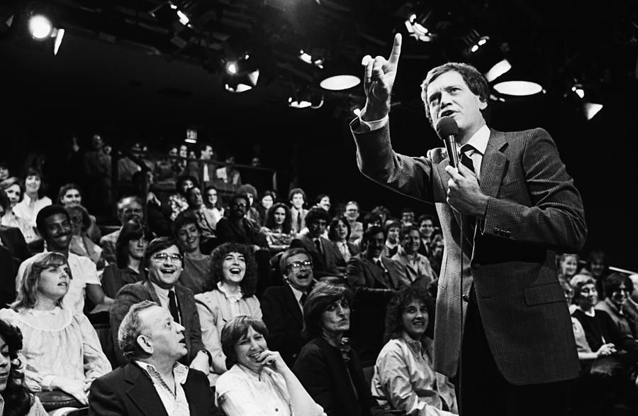 Comedian David Letterman Warms Up Tv Photograph by George Rose