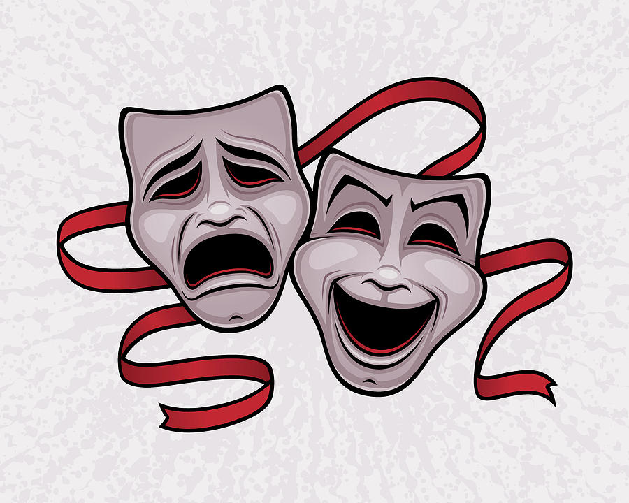 Comedy And Tragedy Theater Masks Digital Art