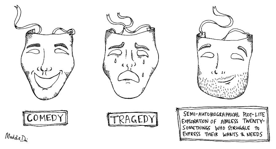 Comedy Tragedy Semi Autobiograpical Drawing by Maddie Dai