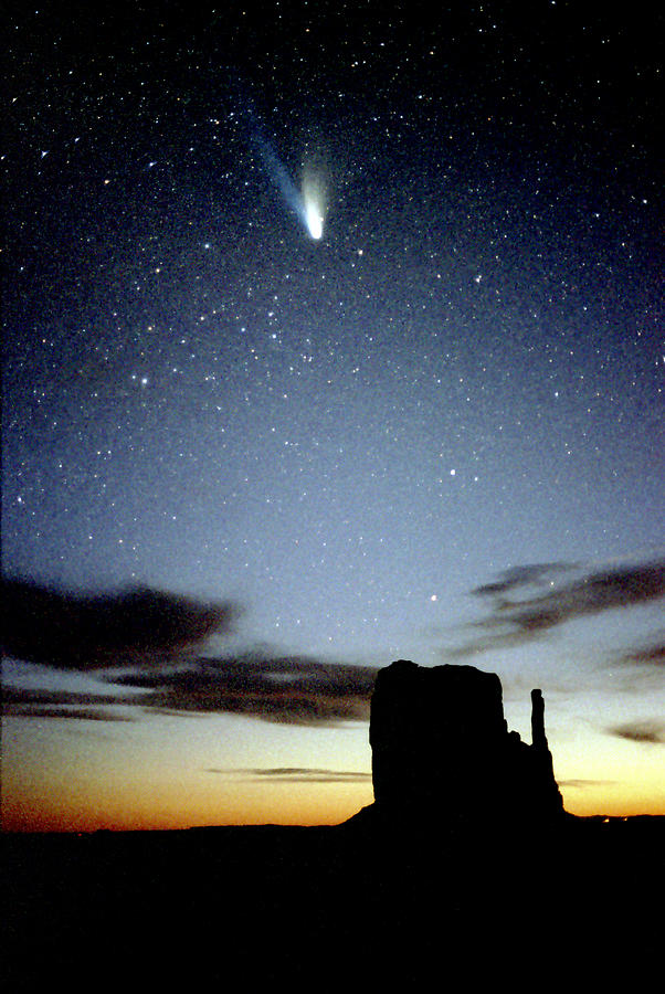 Comet Hale-bopp Over Monument Valley Photograph by Kickstand