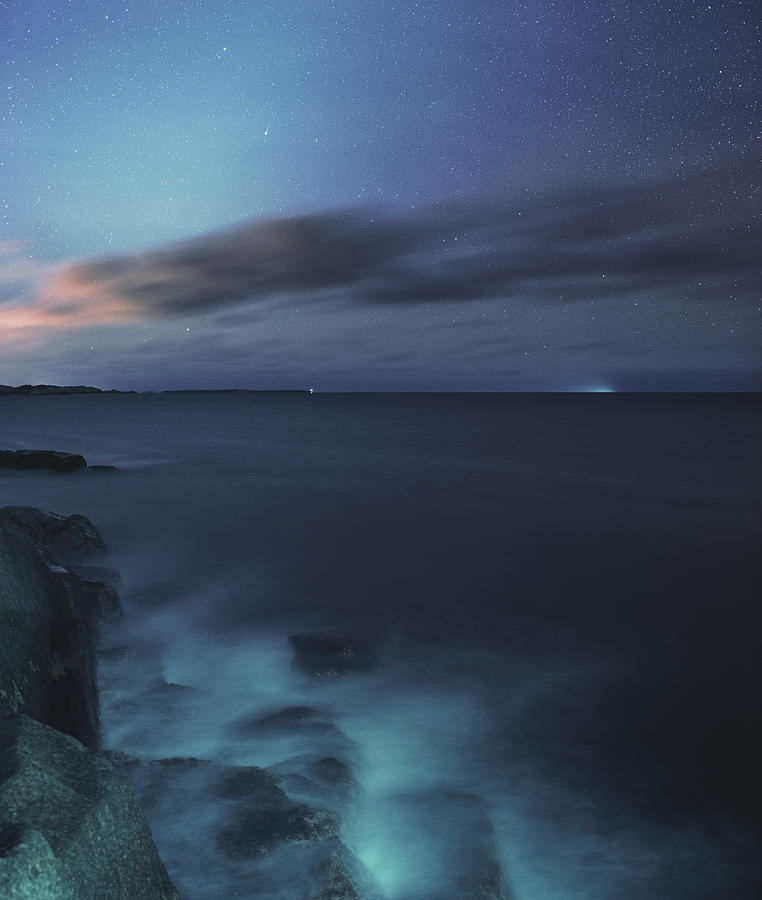 Comet Ison Over The Atlantic Photograph by Shaunl