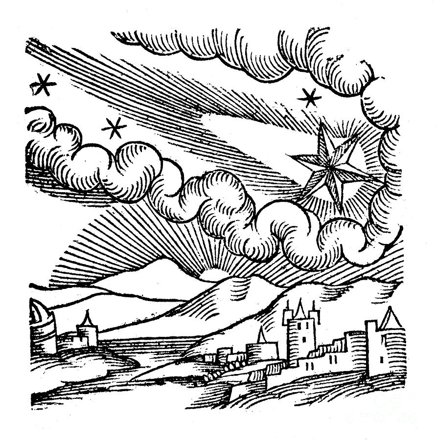 Comet Of 1456 Halley, 1557 Drawing by Print Collector