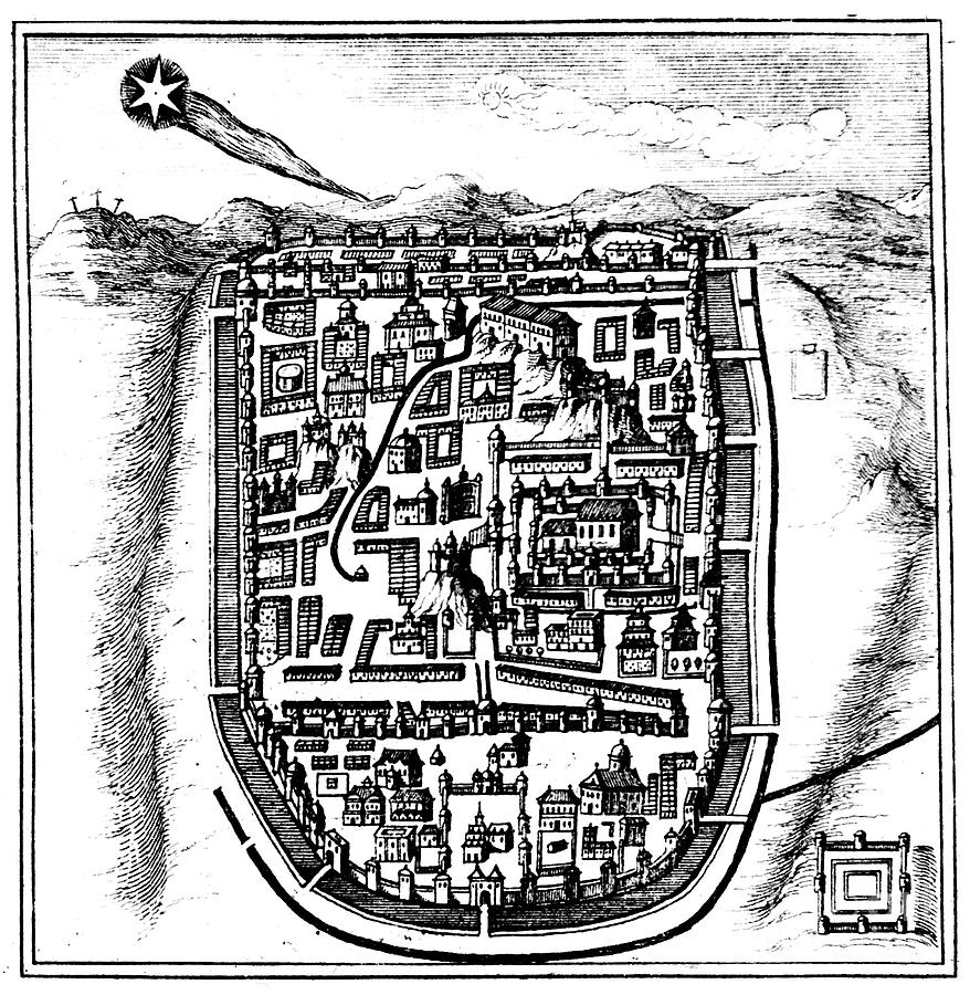 Comet Of 66 Ad Halley Over Jerusalem Drawing by Print Collector