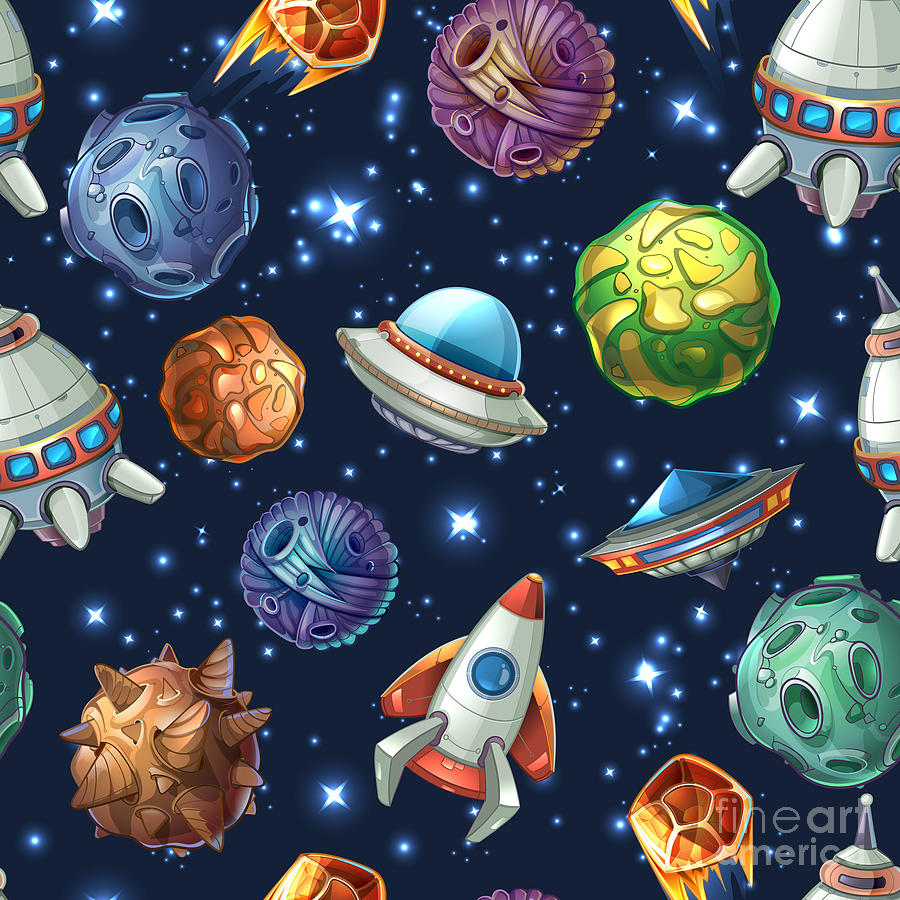 Rocket Digital Art - Comic Space With Planets And by Mssa