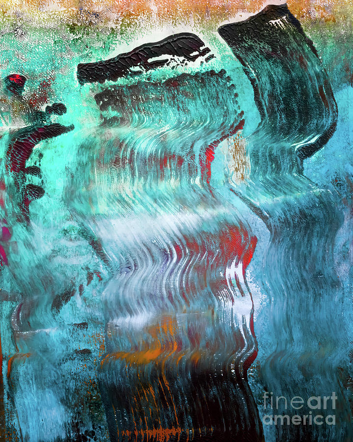 Abstract Mixed Media - Coming To The Surface by Laura L Leatherwood