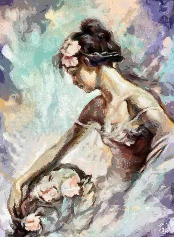 Woman Digital Art - Coming With Flowers by Gun Legler