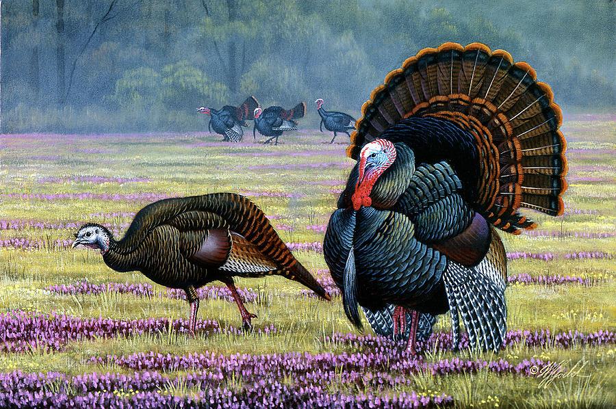 Wild Turkeys Painting - Commanding Attention by Wilhelm Goebel