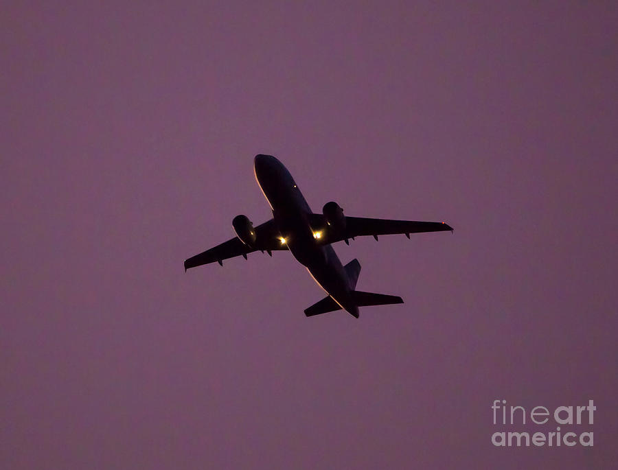 Commercial Jet and Purple Sky by Kevin McCarthy